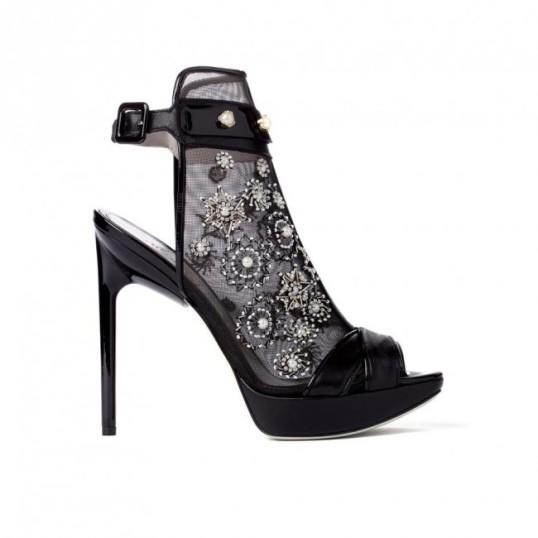 Sheer and mesh heels